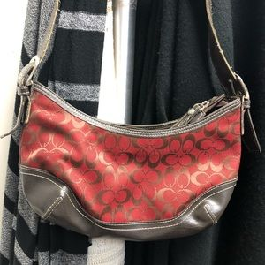 Red and brown purse